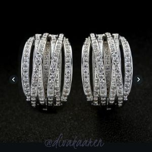 Sterling Silver Lab created White Sapphire Earring